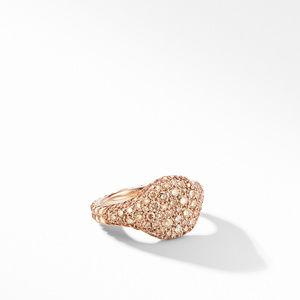 Mini Chevron Pinky Ring in 18K Rose Gold with Pavé Cognac Diamonds