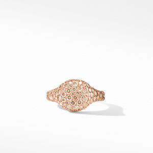 Mini Chevron Pinky Ring in 18K Rose Gold with Pavé Cognac Diamonds alternative image