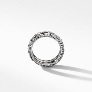 Waves Band Ring with Forged Carbon alternative image