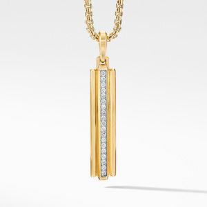 Deco Ingot Pendant in 18K Yellow Gold with Pavé Diamonds
