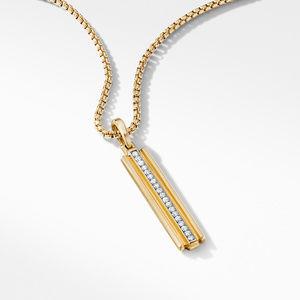 Deco Ingot Pendant in 18K Yellow Gold with Pavé Diamonds alternative image