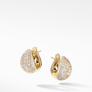 Pear Huggie Hoop Earrings in 18K Yellow Gold with Pavé Diamonds