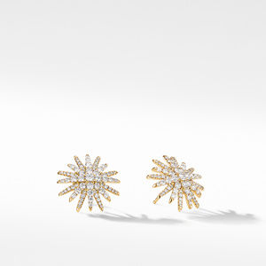Starburst Stud Earrings in 18K Yellow Gold with Pavé Diamonds