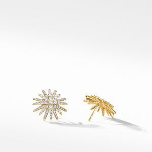 Starburst Stud Earrings in 18K Yellow Gold with Pavé Diamonds alternative image