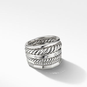Stax Wide Ring with Diamonds