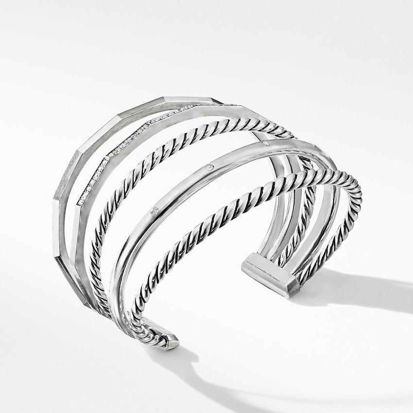 Stax Narrow Cuff Bracelet with Diamonds