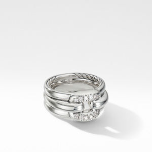 Thoroughbred® Cushion Link Ring with Pavé Diamonds