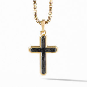 Forged Carbon Cross in 18K Yellow Gold