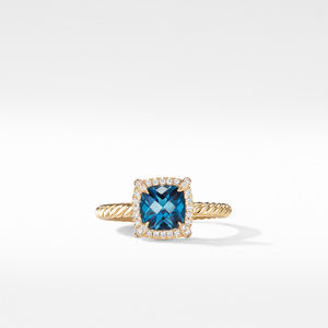 Petite Chatelaine® Pavé Bezel Ring in 18K Yellow Gold with Hampton Blue Topaz alternative image