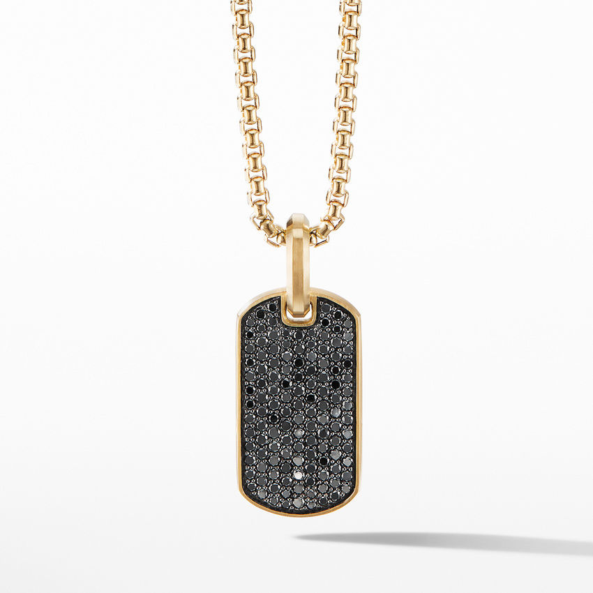 Streamline® Tag in 18K Yellow Gold with Pavé Black Diamonds