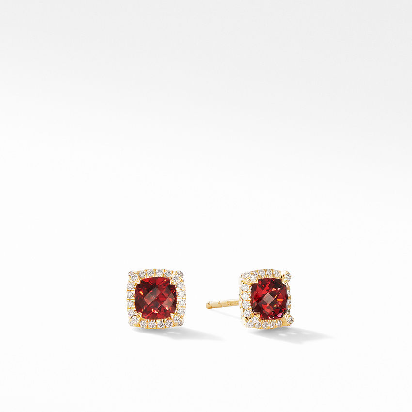 Petite Chatelaine® Pavé Bezel Stud Earrings in 18K Yellow Gold with Garnet
