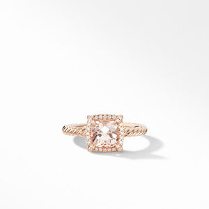Petite Chatelaine® Pavé Bezel Ring in 18K Rose Gold with Morganite alternative image