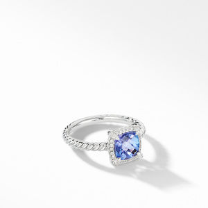 Petite Chatelaine® Pavé Bezel Ring in 18K White Gold with Tanzanite
