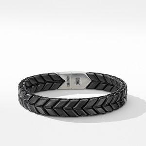 Chevron Wide Woven Bracelet in Black Titanium