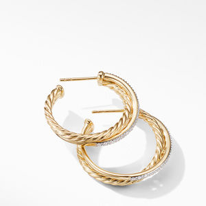Crossover Medium Hoop Earrings in 18K Yellow Gold with Diamonds alternative image
