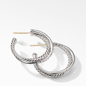 The Crossover Collection® Medium Hoop Earrings with Diamonds alternative image