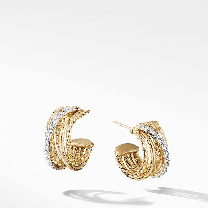 Crossover Huggie Hoop Earrings in 18K Yellow Gold with Diamonds