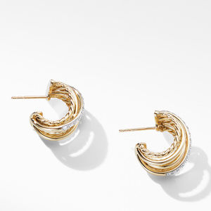 Crossover Huggie Hoop Earrings in 18K Yellow Gold with Diamonds alternative image