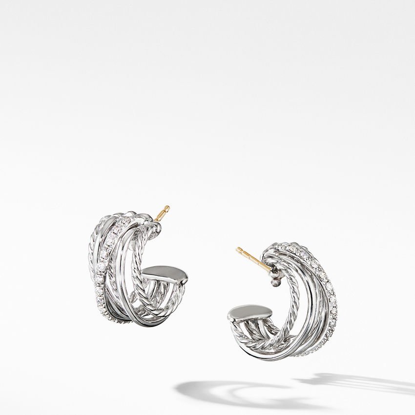 Crossover Huggie Hoop Earrings with Diamonds