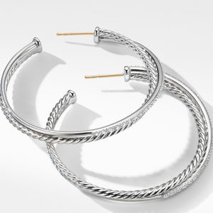 Crossover XL Hoop Earrings with Diamonds alternative image
