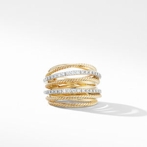 Crossover Wide Ring in 18K Yellow Gold with Diamonds alternative image
