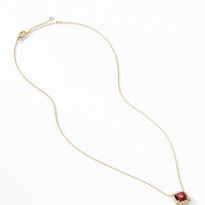 Petite Chatelaine® Pavé Bezel Pendant Necklace in 18K Yellow Gold with Garnet alternative image