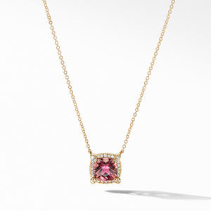 Petite Chatelaine® Pavé Bezel Pendant Necklace in 18K Yellow Gold with Pink Tourmaline
