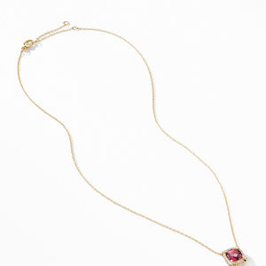 Petite Chatelaine® Pavé Bezel Pendant Necklace in 18K Yellow Gold with Pink Tourmaline alternative image