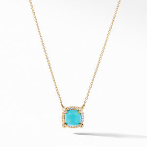 Petite Chatelaine® Pavé Bezel Pendant Necklace in 18K Yellow Gold with Turquoise