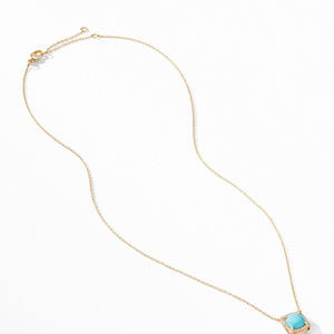Petite Chatelaine® Pavé Bezel Pendant Necklace in 18K Yellow Gold with Turquoise alternative image