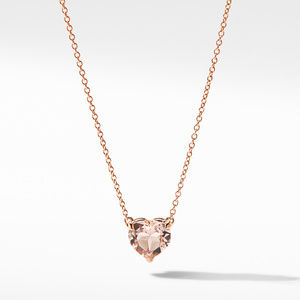Heart Pendant Necklace in 18K Rose Gold with Morganite