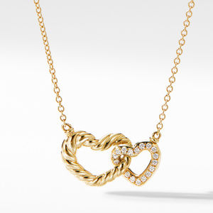 Double Heart Pendant Necklace in 18K Yellow Gold with Diamonds
