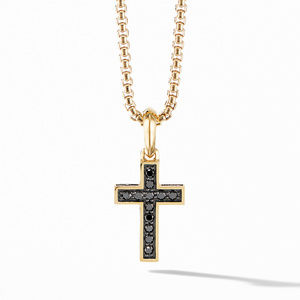 Cross Pendant in 18K Yellow Gold with Pavé Black Diamonds
