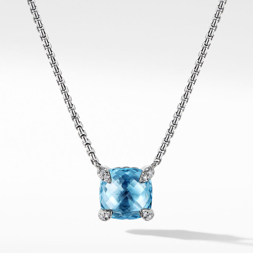 Chatelaine® Pendant Necklace with Blue Topaz and Diamonds
