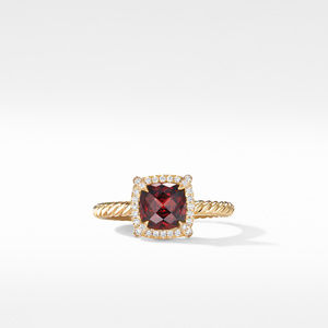 Petite Chatelaine® Pavé Bezel Ring in 18K Yellow Gold with Garnet alternative image