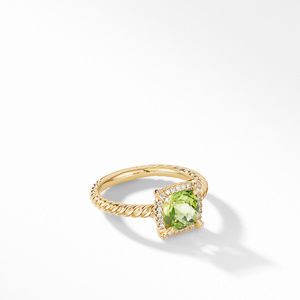 Petite Chatelaine® Pavé Bezel Ring in 18K Yellow Gold with Peridot