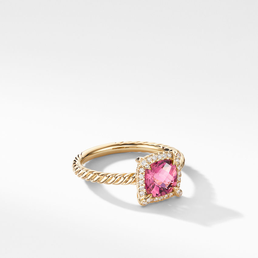 Petite Chatelaine® Pavé Bezel Ring in 18K Yellow Gold with Pink Tourmaline