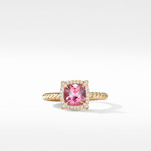 Petite Chatelaine® Pavé Bezel Ring in 18K Yellow Gold with Pink Tourmaline alternative image