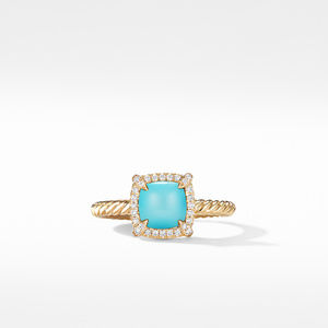 Petite Chatelaine® Pavé Bezel Ring in 18K Yellow Gold with Turquoise alternative image