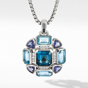 Novella Statement Pendant with Blue Topaz and Pavé Diamonds