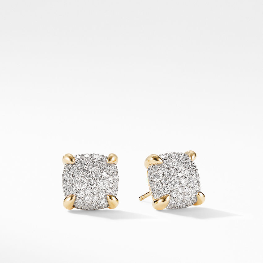 Chatelaine® Stud Earrings in 18K Yellow Gold with Full Pavé Diamonds