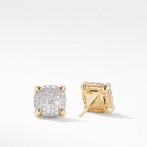 Chatelaine® Stud Earrings in 18K Yellow Gold with Full Pavé Diamonds alternative image