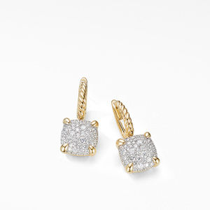 Chatelaine® Drop Earrings in 18K Yellow Gold with Full Pavé Diamonds alternative image