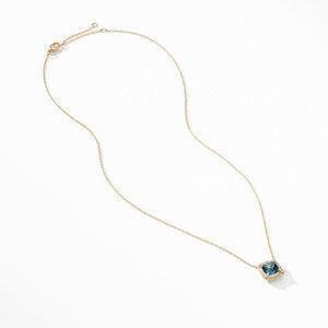 Petite Chatelaine® Pavé Bezel Pendant Necklace in 18K Yellow Gold with Hampton Blue Topaz alternative image