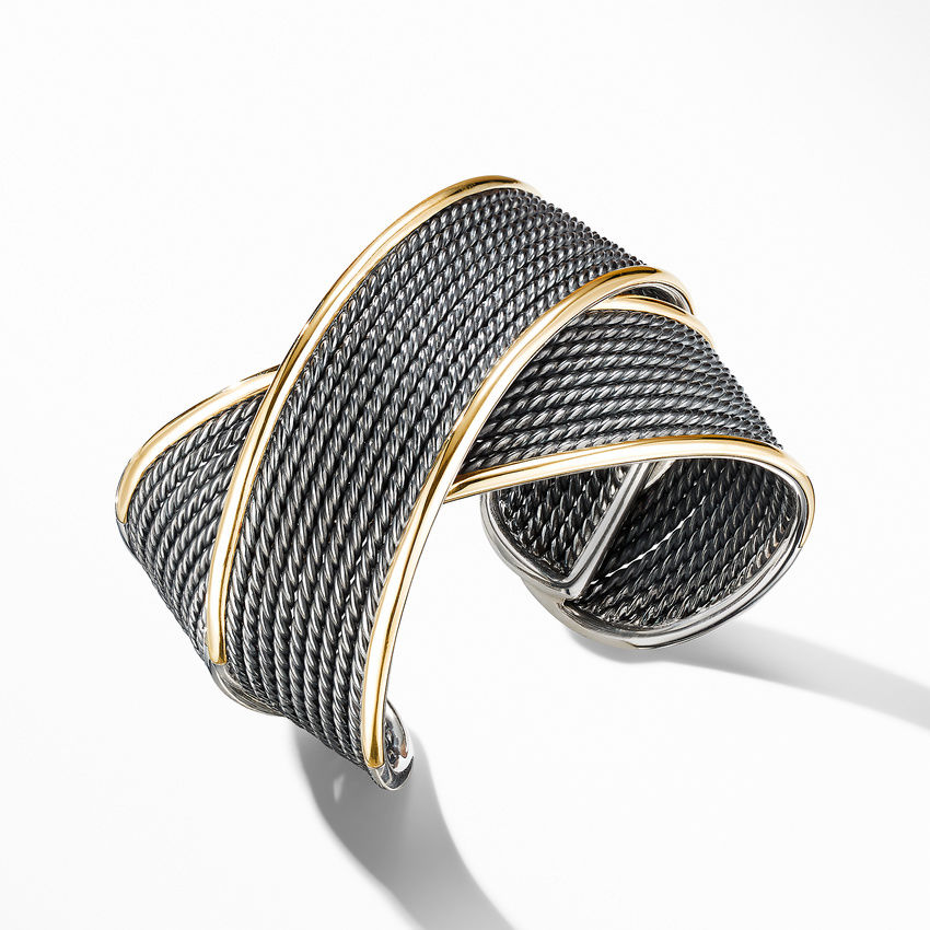 DY Origami Large Cuff Bracelet in Blackened Silver