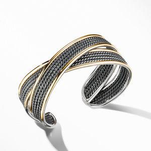 DY Origami Narrow Cuff Bracelet in Blackened Silver