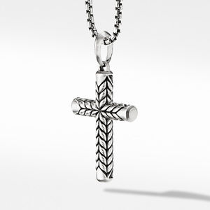 Chevron Sculpted Cross with Pavé Black Diamonds alternative image