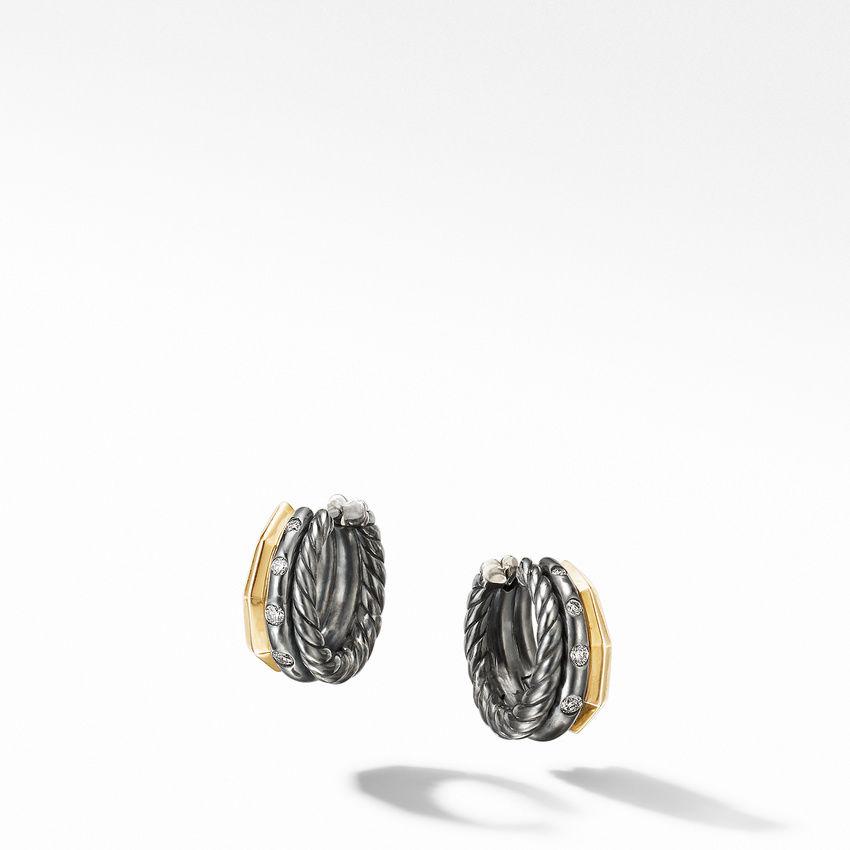 Stax Huggie Hoop Earrings in Blackened Silver with Diamonds