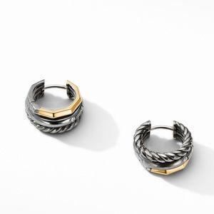 Stax Huggie Hoop Earrings in Blackened Silver with Diamonds alternative image