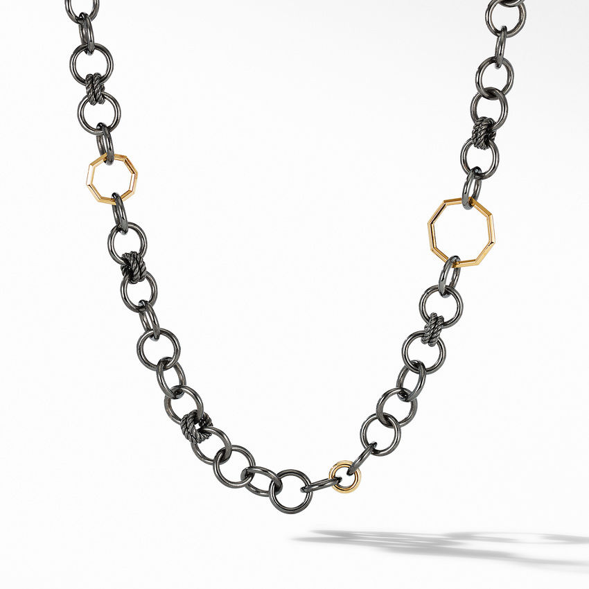 Stax Black and Gold Round Link Necklace